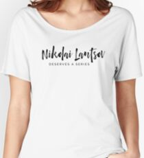 Nikolai (black print) Women's Relaxed Fit T-Shirt