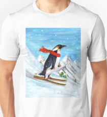 Vintage Style Penguin Downhill Skiing T-Shirt