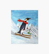 Vintage Style Penguin Downhill Skiing Art Board