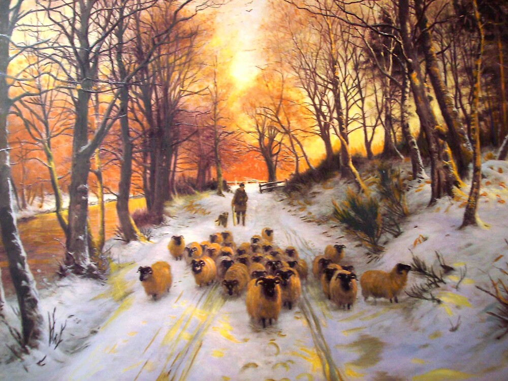 Sheperd dog herding the flock oil painting reproduction of 18th centuary artist by coolart