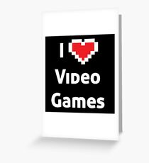 I pixel heart video games white Greeting Card
