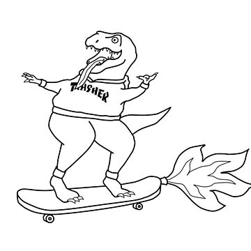 'Trasher' T-Rex Rocket Skateboard by artsyfalcon46