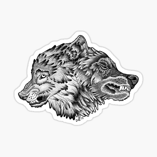 Two Wolves (Black) Sticker