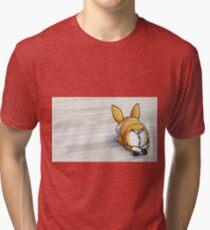 """Fluffy Butt"" Corgi Tri-blend T-Shirt"