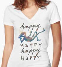 Happy Lil Dude Women's Fitted V-Neck T-Shirt