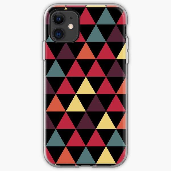 Geometric pattern, dark contrasting triangles iPhone Soft Case
