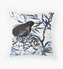 A blackbird in the elder Throw Pillow