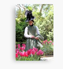 A Colonial Lady in Her Garden Metal Print