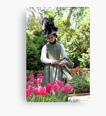 A Colonial Lady in Her Garden Canvas Print