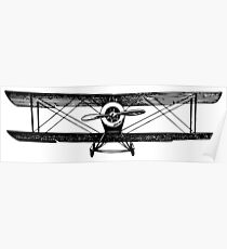 Old Vintage Antique Airplane Drawing #4 (Front) Poster