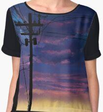 purple sky telephone wires Women's Chiffon Top