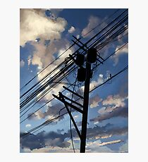 blue sky telephone wires Photographic Print