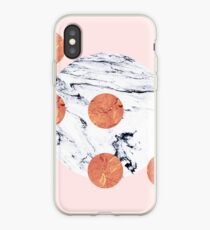 Marble + Pink + Copper #redbubble #lifestyle iPhone Case