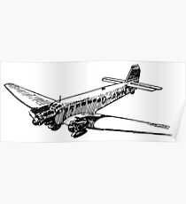 Old Vintage Antique Airplane Drawing #8 Poster