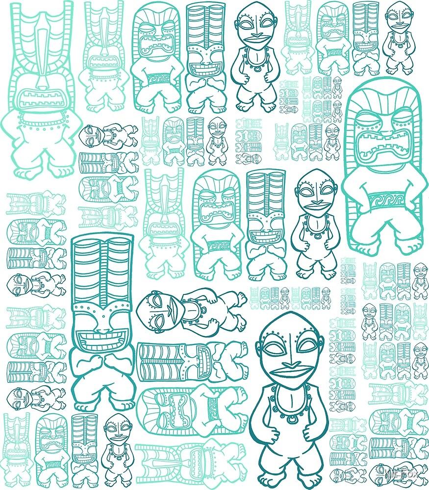 Tiki Stacks, Teal by Kit Fox