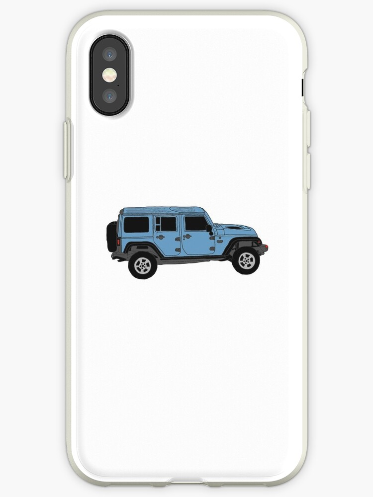 quality design 4be7b ee973 'Blue Jeep Wrangler Drawing' iPhone Case by allyconnelly99