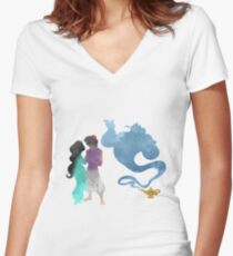 Princess, Prince and Genie Inspired Silhouette Women's Fitted V-Neck T-Shirt