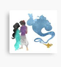 Princess, Prince and Genie Inspired Silhouette Canvas Print