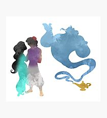 Princess, Prince and Genie Inspired Silhouette Photographic Print