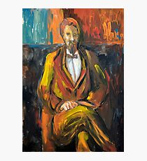 Painting illustration of man portrait in brown colors  Photographic Print
