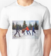 Painting illustration of children playing in the snow T-Shirt