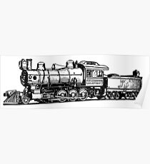 Old Vintage Antique Steam Train Drawing #3 Poster
