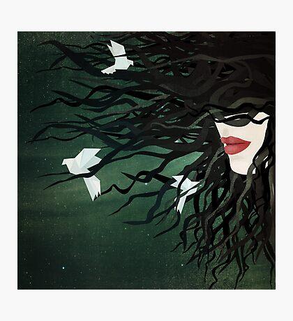 Birds in my hair Photographic Print