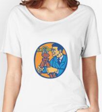 Surveyor Geodetic Theodolite Woodcut Linocut Women's Relaxed Fit T-Shirt