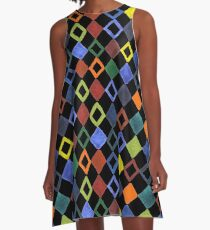 Watercolor pattern with colored rhombus A-Line Dress