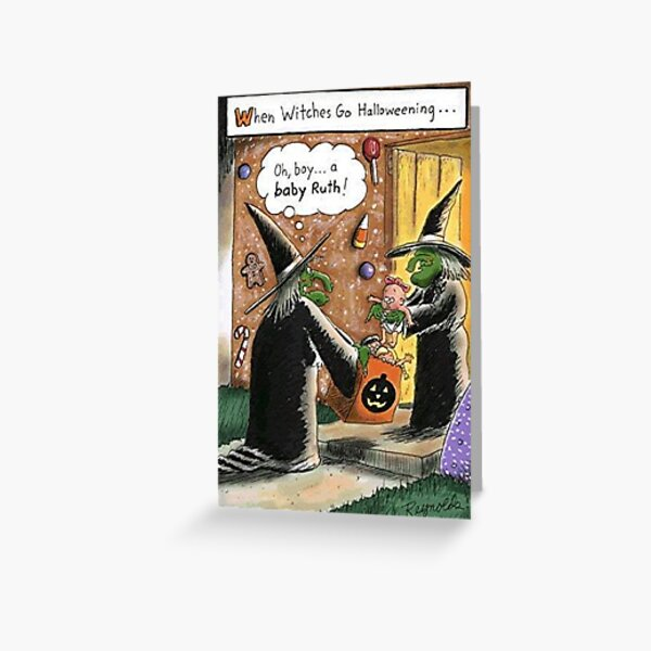 Halloween Funny Witches Trick or Treat Greeting Card