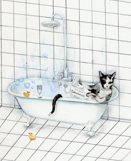 Tuxedo Cat Reading Newspaper in Bathtub by Goosi