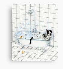 Tuxedo Cat Reading Newspaper in Bathtub Canvas Print