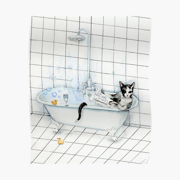 Tuxedo Cat Reading Newspaper in Bathtub Poster