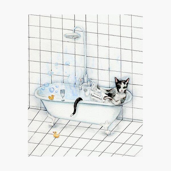 Tuxedo Cat Reading Newspaper in Bathtub Photographic Print