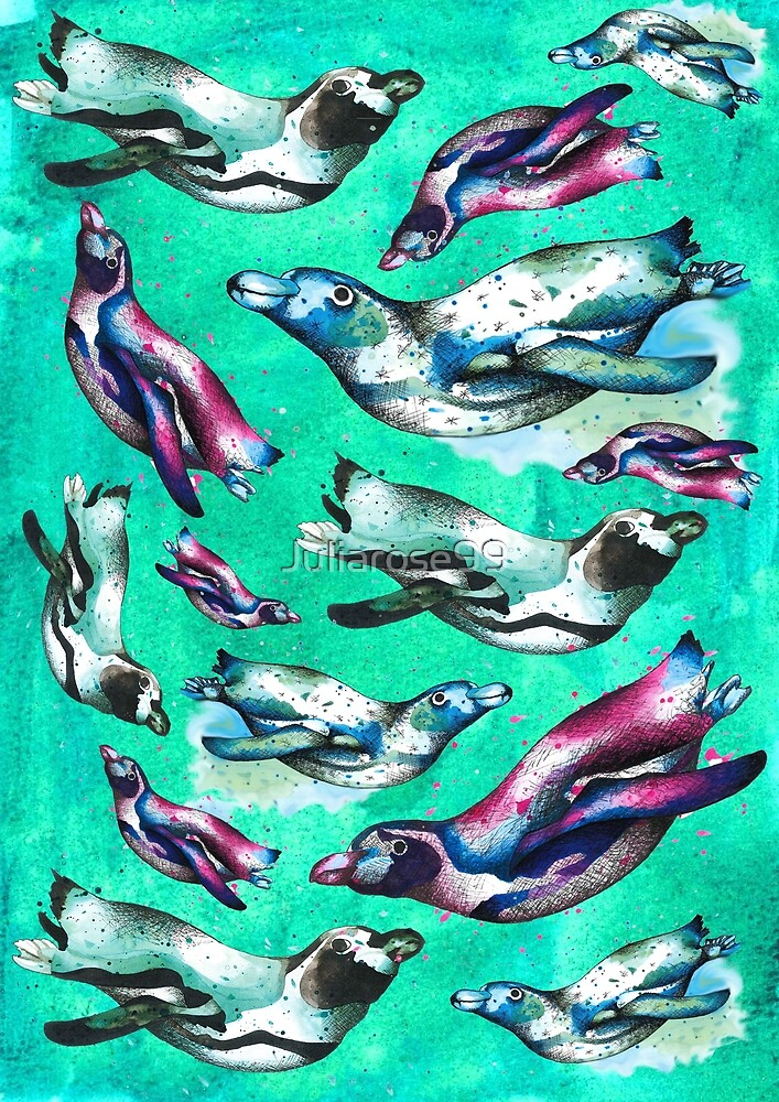 Swimming Penguins by Juliarose99