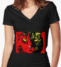 ANGRY CAT POP ART - YELLOW BLACK RED Women's Fitted V-Neck T-Shirt