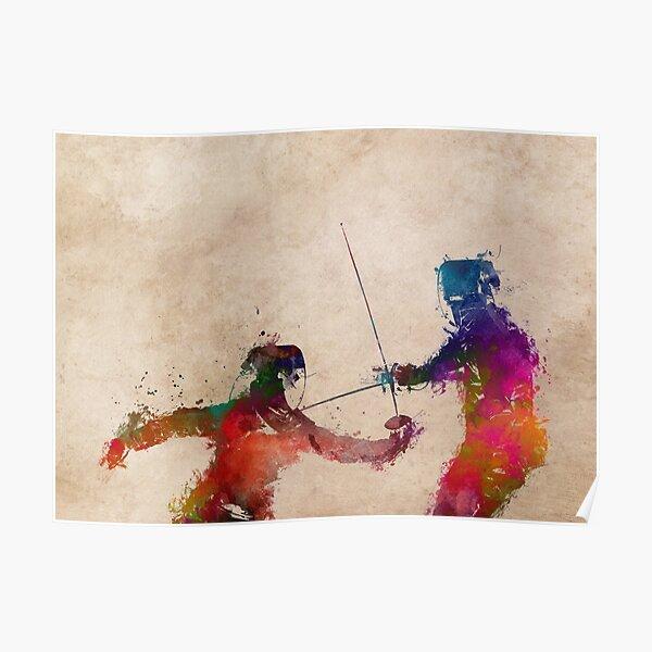 Fencing sport art #fencing Poster
