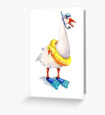Snorkeling Goose Greeting Card