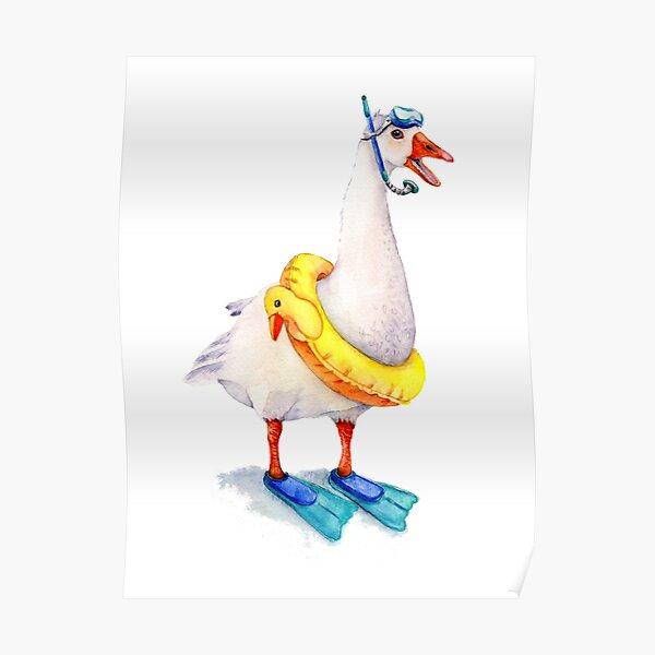 Snorkeling Goose Poster
