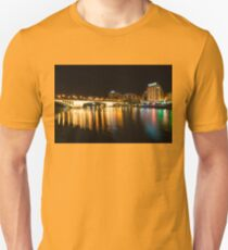 Seville Night Magic - Triana Multicolored Reflections Shimmering in Guadalquivir River T-Shirt