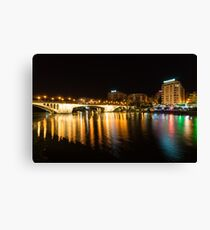 Seville Night Magic - Triana Multicolored Reflections Shimmering in Guadalquivir River Canvas Print