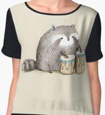 Raccoon on Bongos Chiffon Top