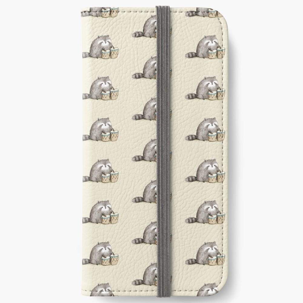Raccoon on Bongos iPhone Wallet