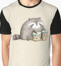 Raccoon on Bongos Graphic T-Shirt