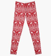 Bernese Mountain Dog fair isle christmas dog breed pattern red and white minimal  Leggings