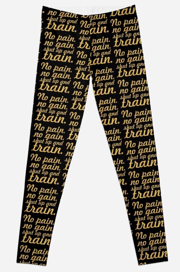 No Pain No Gain Gym Motivational Quote Leggings By Powerofwordss