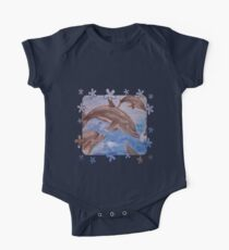 A Pod of Playful Jumping Dolphins Vector Kids Clothes