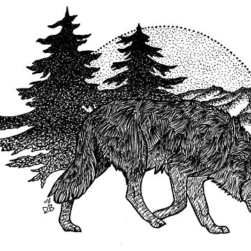 Wolf and Mountains (Black) by danibeez