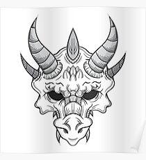 Dragon Skull B/W Poster