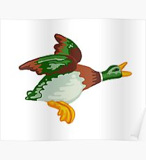 Home Sweet Home - Flying Mallard Duck Repeating Pattern Poster